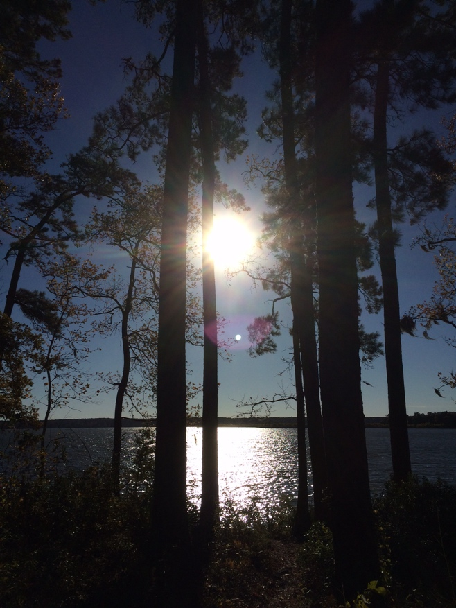 Sun shining on lake Conroe