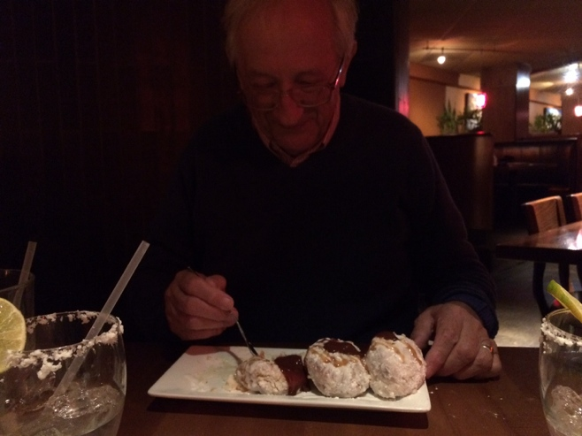 Father eating dessert