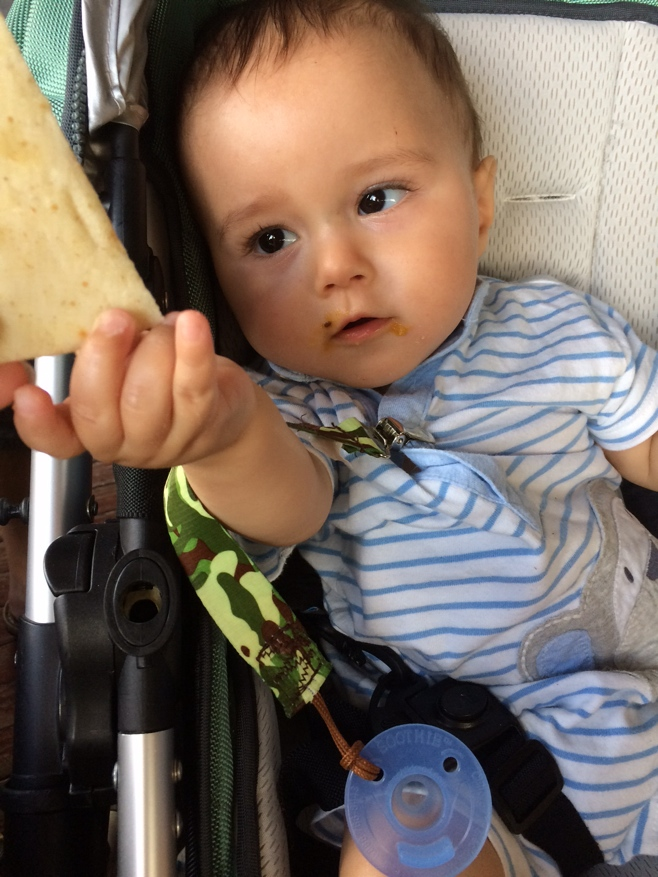 Baby eating naan
