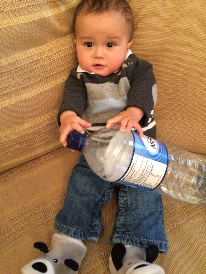 Baby with water bottle