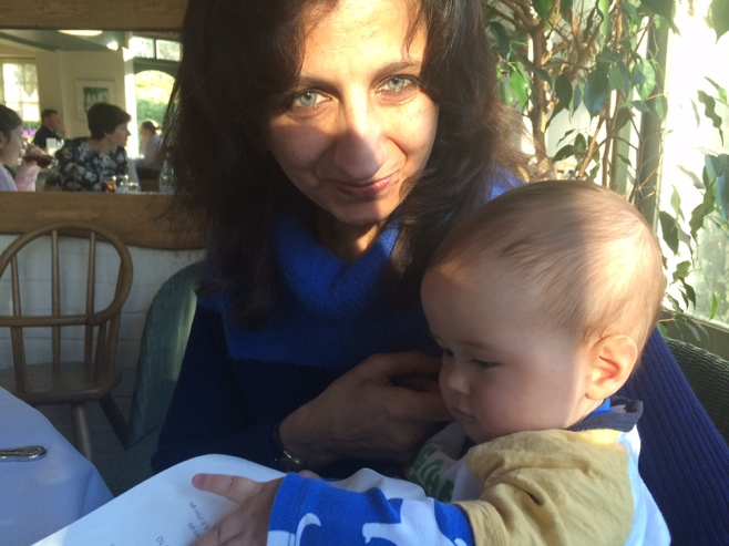 Baby with woman at restaurant