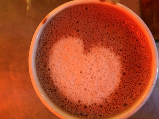 Hot chocolate in a cup with a heart