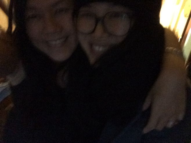 Sisters hugging farewell