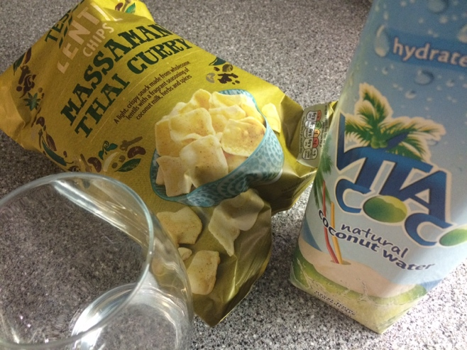 Thai curry chips and coconut water