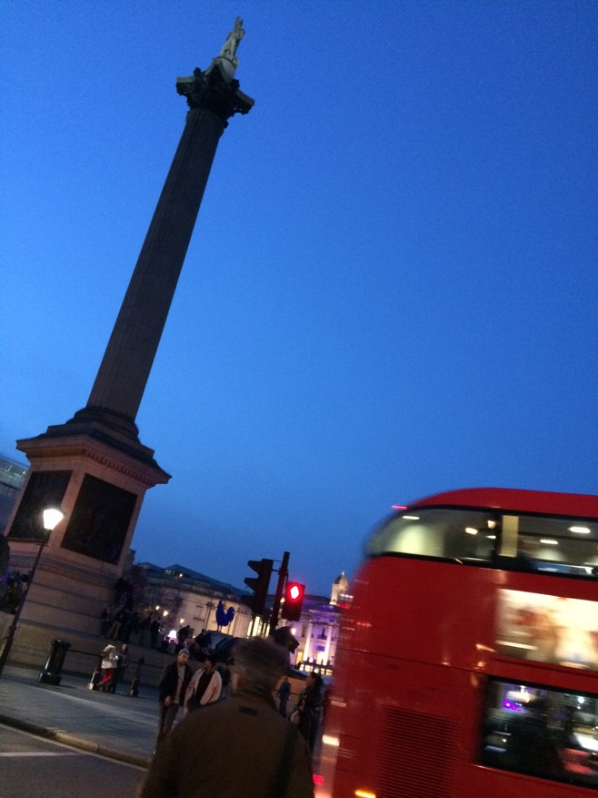 Trafalgar Square and double decker busses