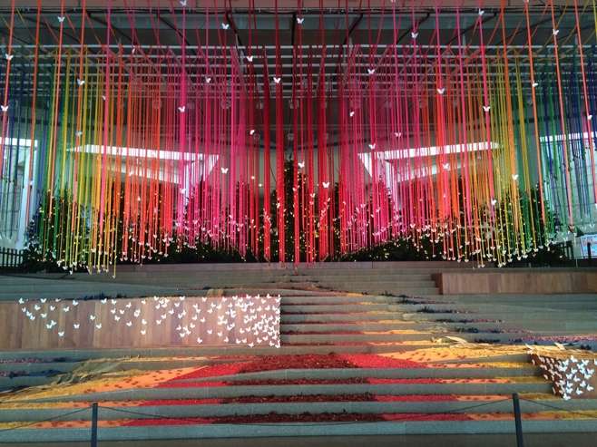 Rainbow ribbons art instillation