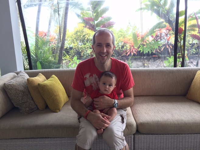 Baby and dad in red tops