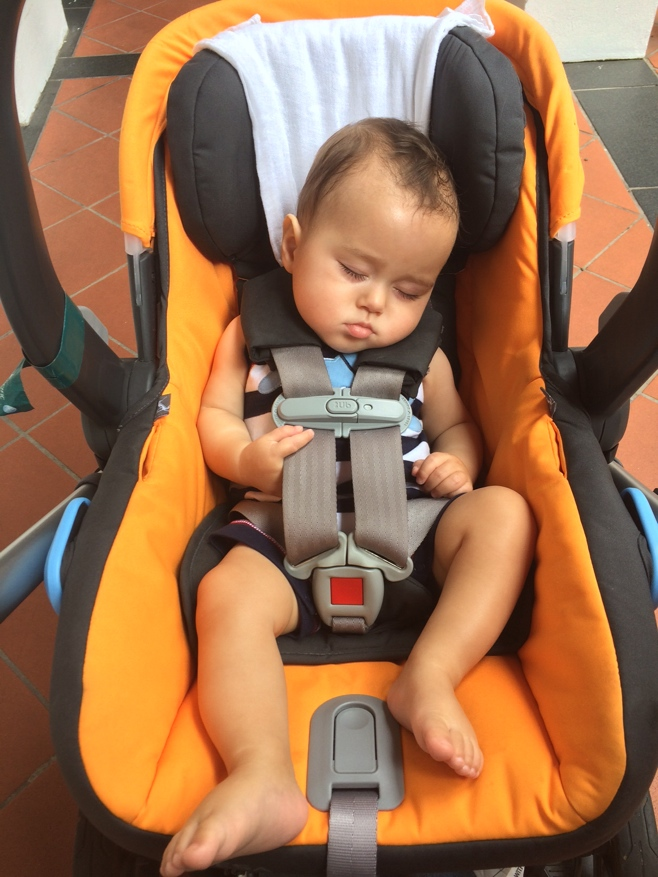 Baby asleep in car seat