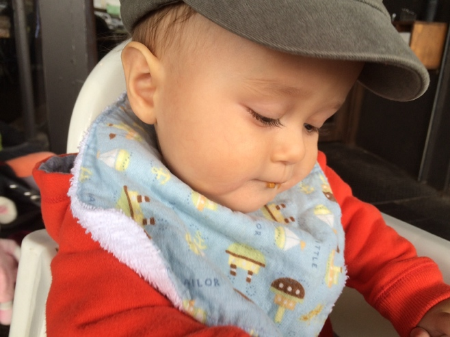 Baby with cap and bib