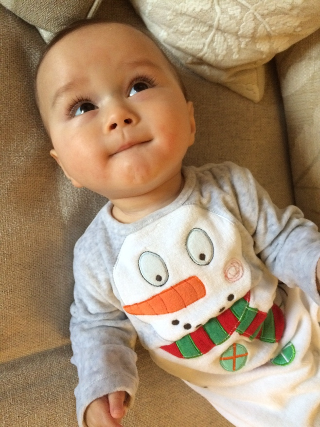 Baby in snowman outfit