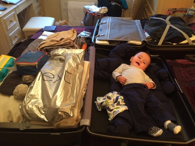 Baby lying in suitcase