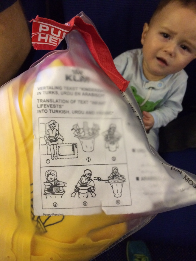 Baby with infant life raft