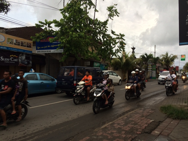 Busy road with motorcycles