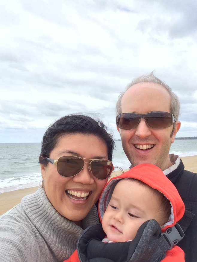 Family selfie on mordialloc beach