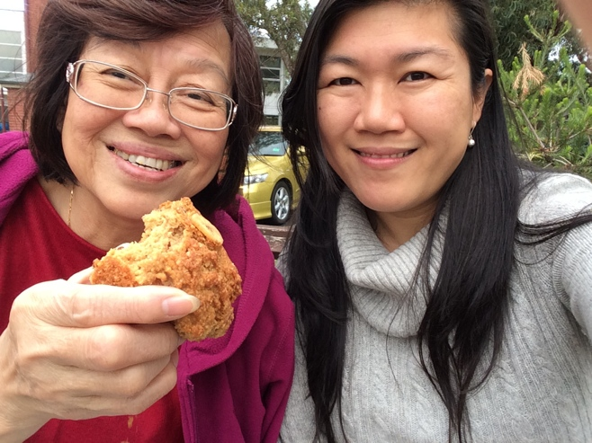 Mum and me eating muffins