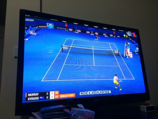 Murray v Krygios tennis match on tv