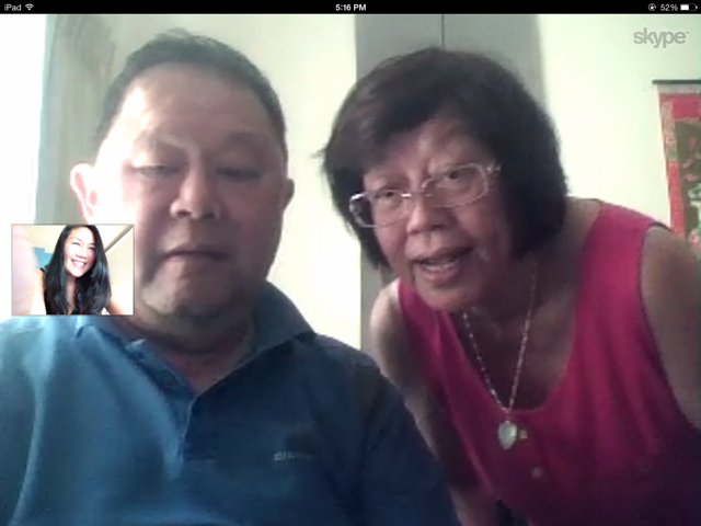 Skyping with mum and dad