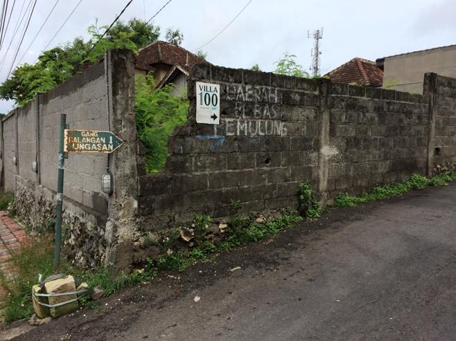 Small side road to villa in Bali