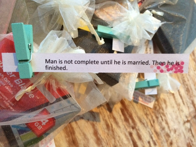 Wedding favors with message