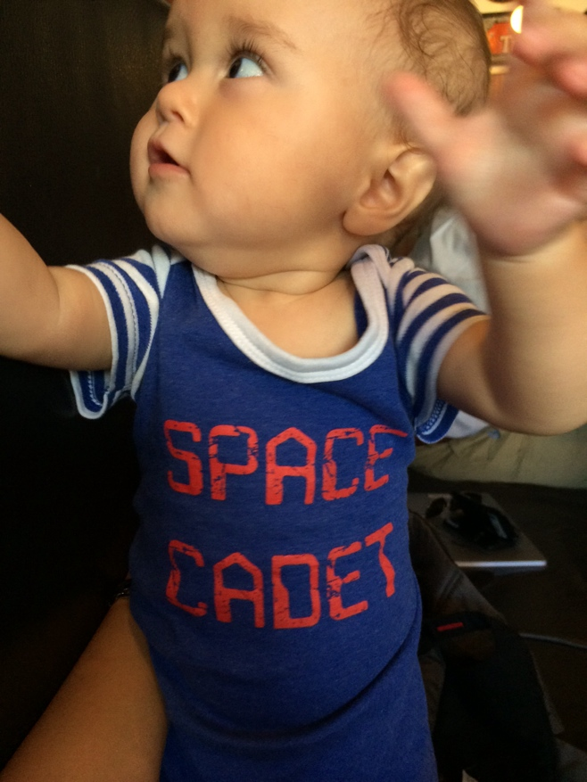 Baby in space cadet onesie