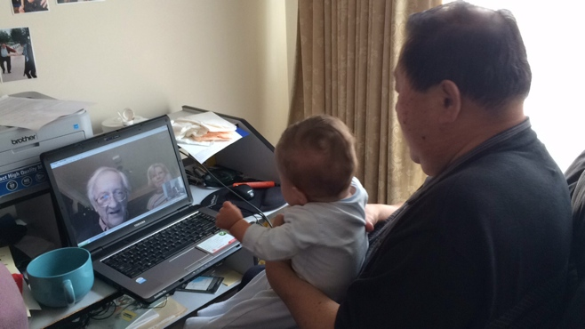 Baby skyping with grandparents