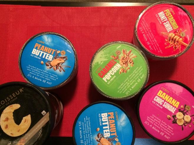 Six tubs of ice cream