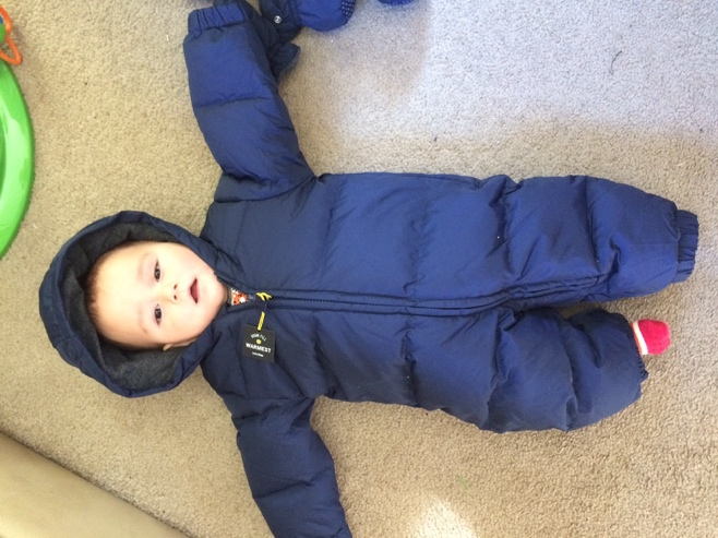 Baby in snowsuit