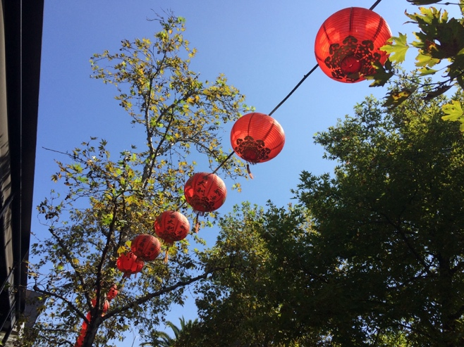 Chinese red lanterns strung across trees