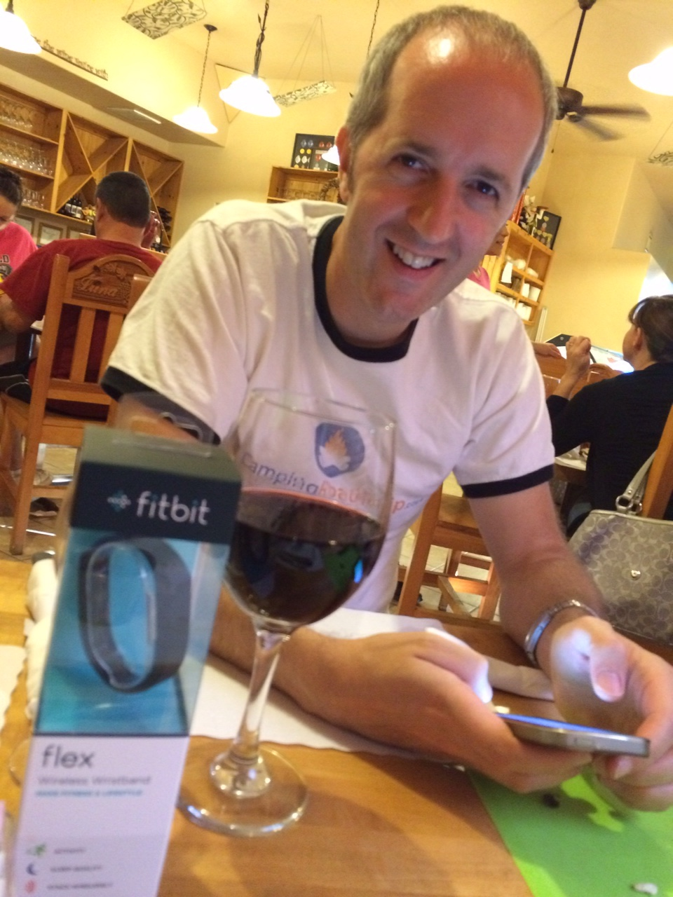 English hubby with wine and fitbit