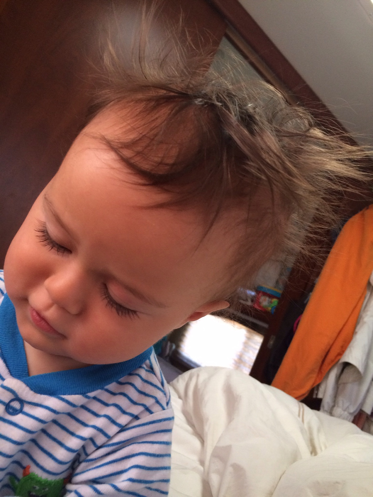 Baby boy o with bed head