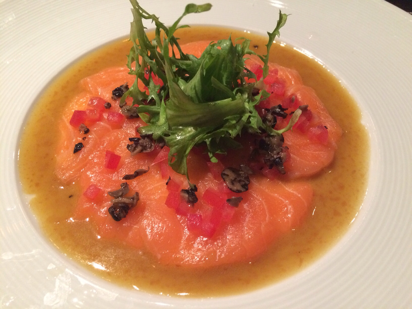 Salmon carpaccio with truffles