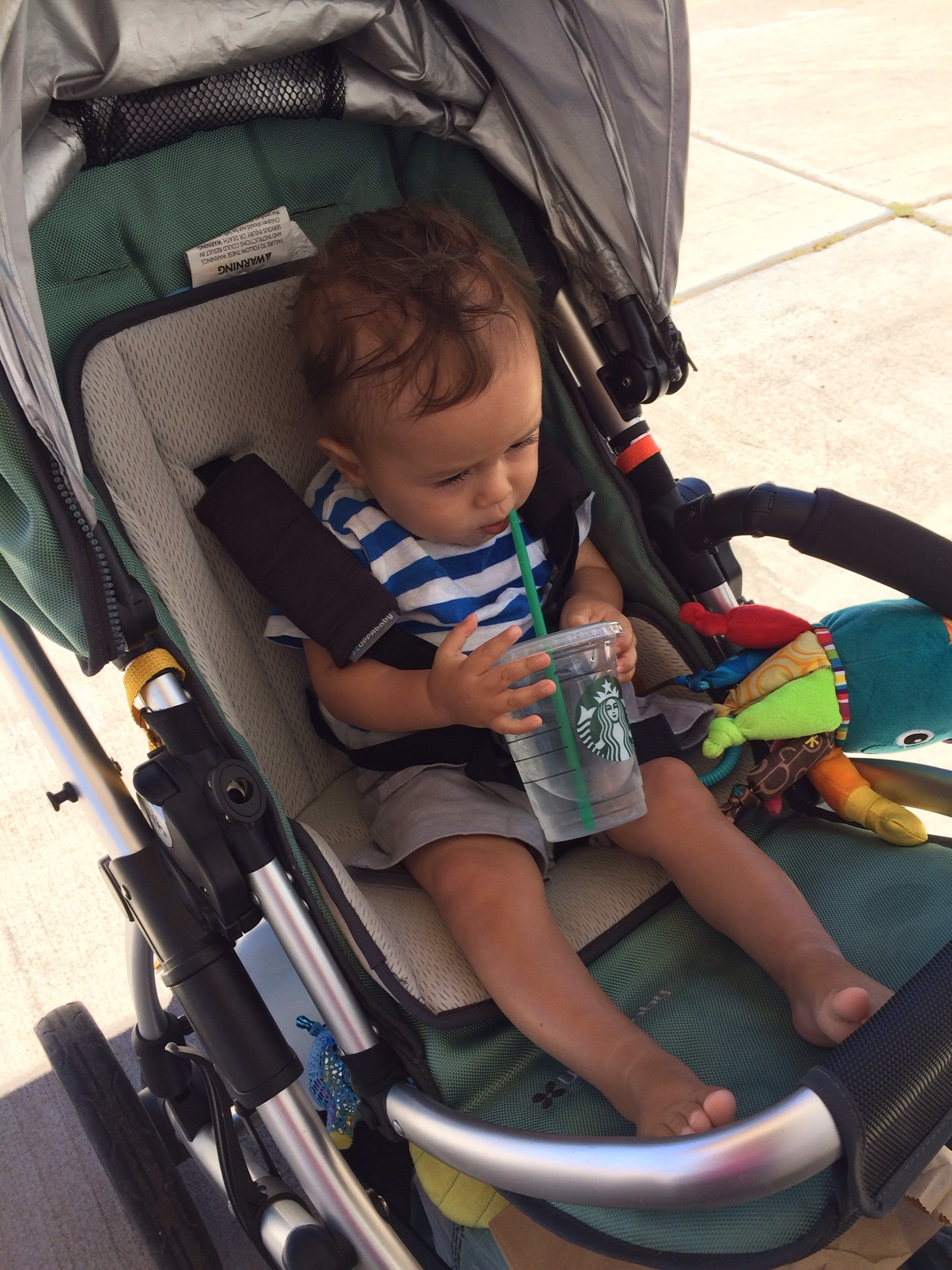 Baby boy o with Starbucks cup