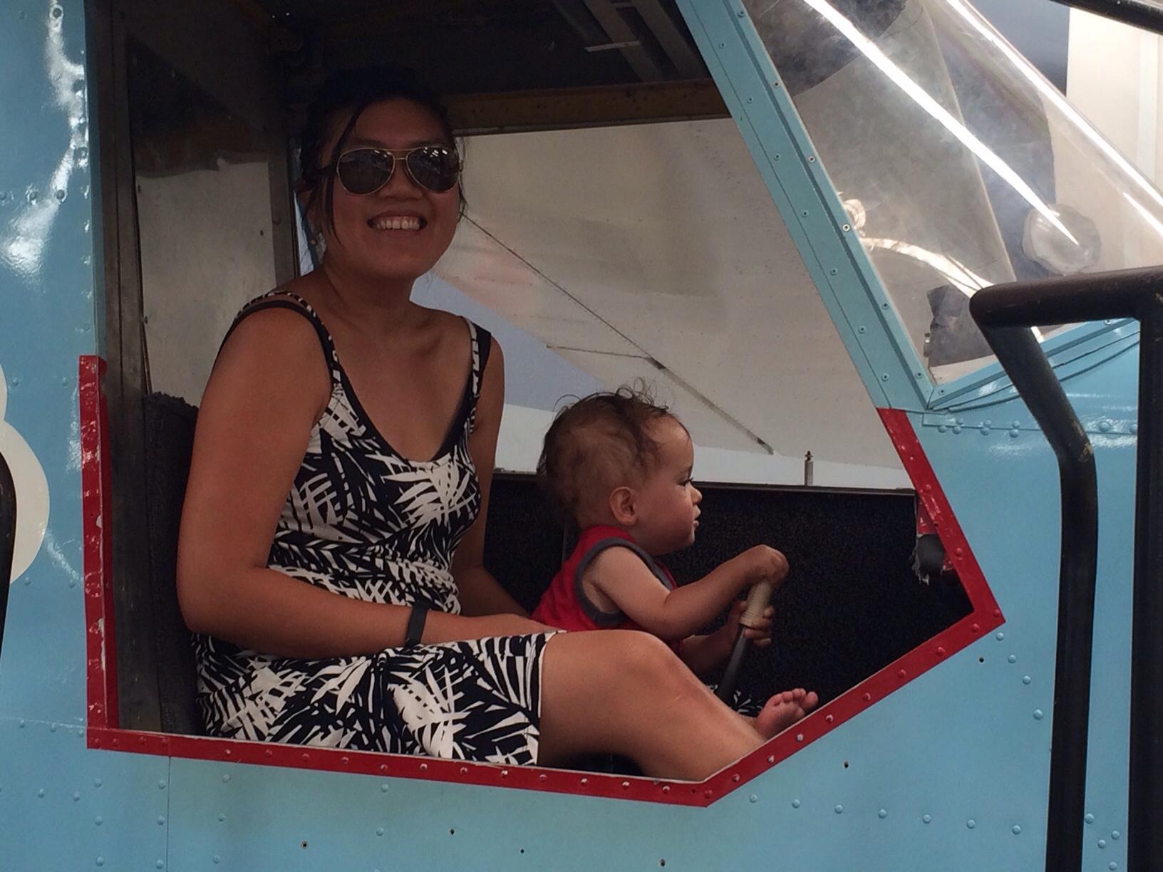 Baby boy o piloting a plane