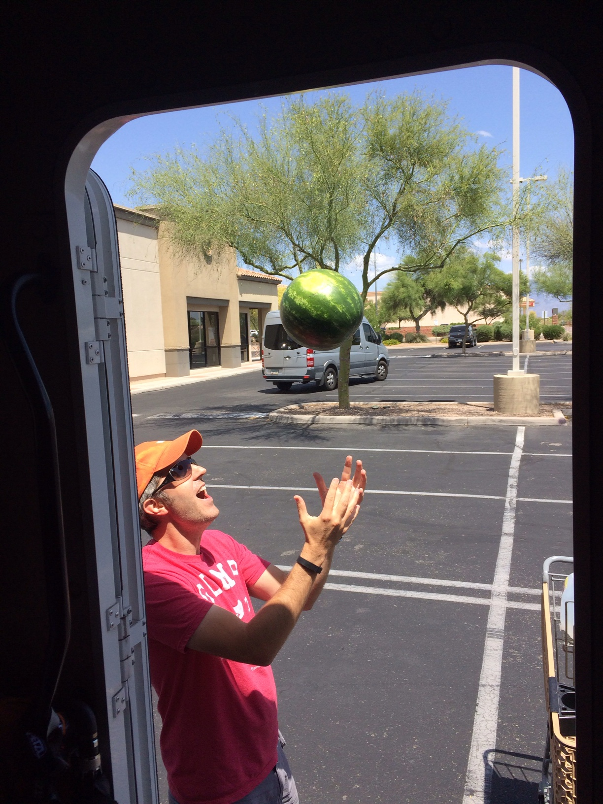 English hubby throwing watermelon into the air