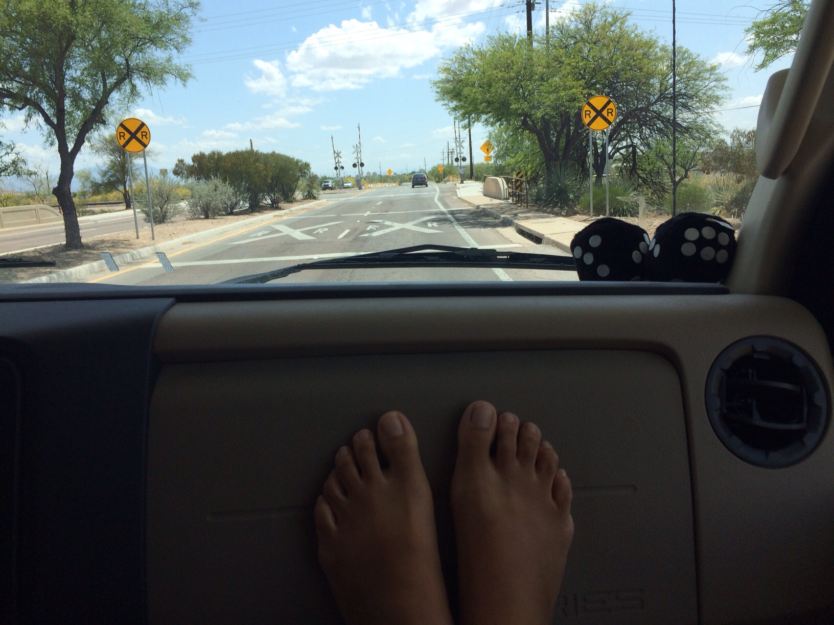 Feet on dash