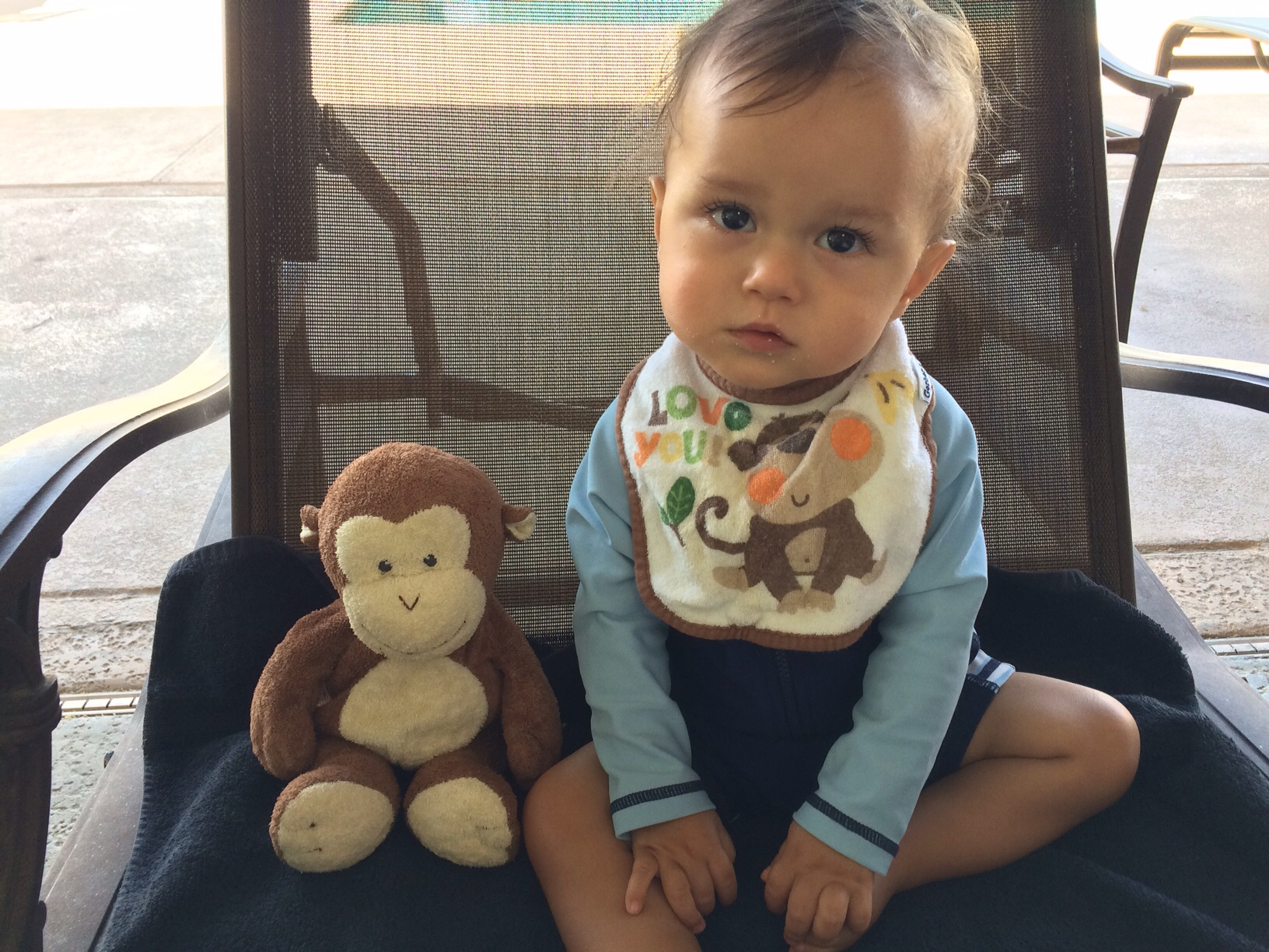 Baby boy o with monkey