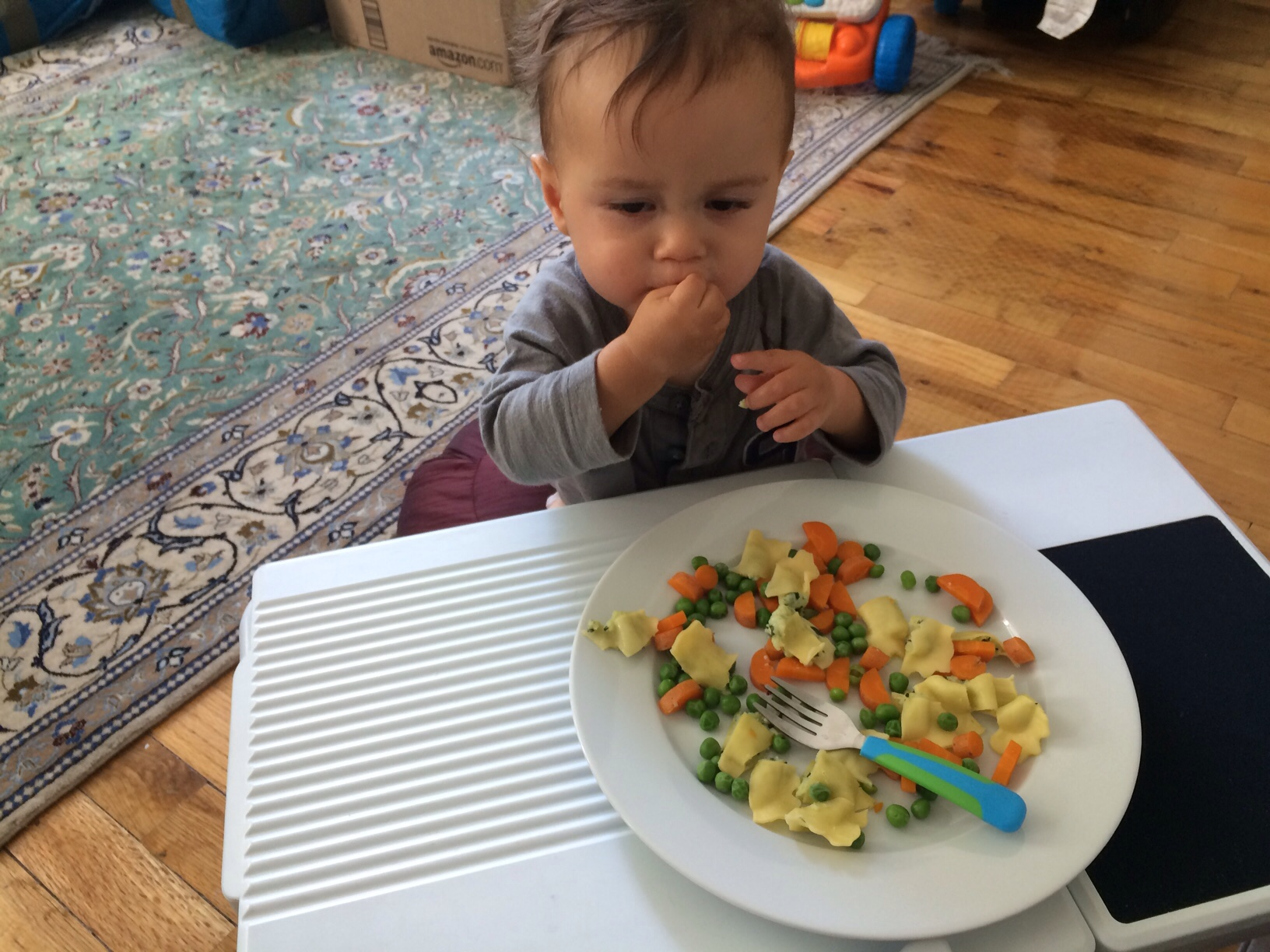 Baby boy o eating large plate of pasta